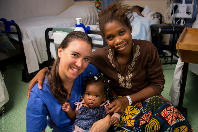 Nurse Tam Lowe with Bignon and her mother